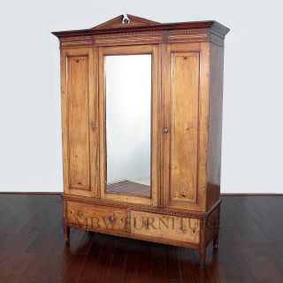 Antique English Mahogany Victorian 5ft 3 Door Armoire Wardrobe Closet C1900 P31 photo