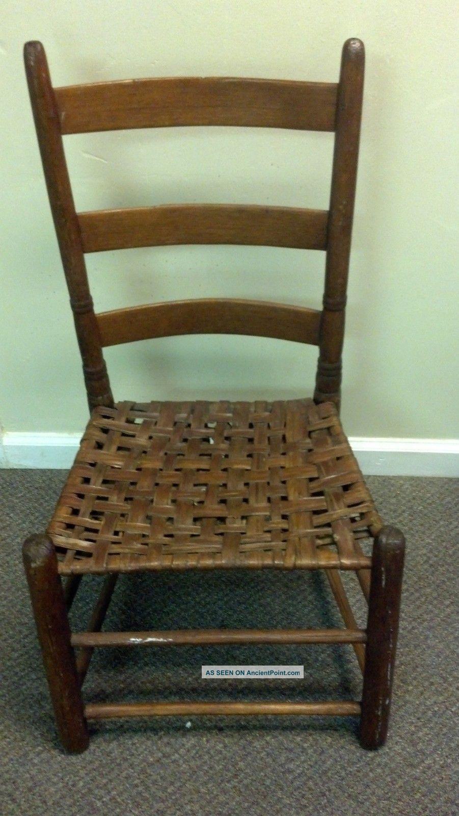 Antique mission ladder back primitive chair w woven cane seat 1900