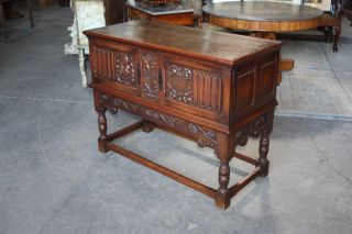 French Gothic Cabinet Oak Carved photo