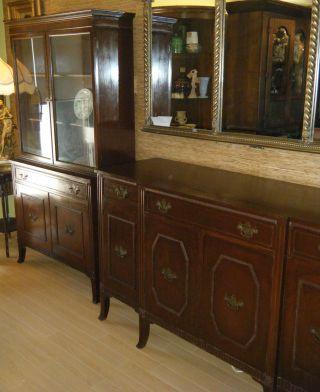 Antique Lammert ' S Cabinet & Buffet Set Cupboard Art Deco,  W/ Brass Labels photo