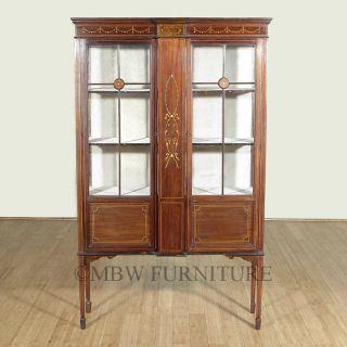 Antique English Inlaid Walnut Edwardian Curio Display Cabinet C1910 P24 photo