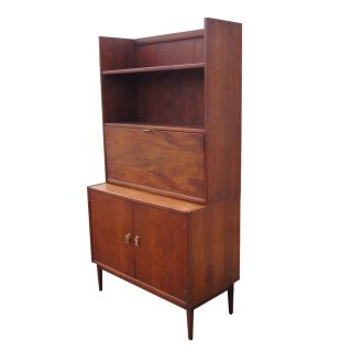 3ft Mid Century Modern Two Tone Wood Desk Cabinet photo