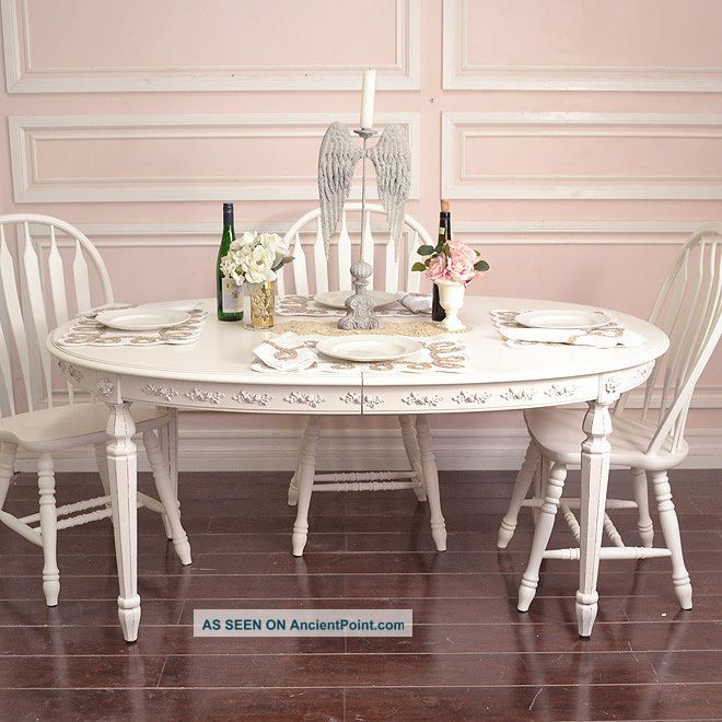 Shabby Cottage Chic Oval Dining Table French Vintage Style White Roses  | 660 x 660 · 78 kB · jpeg