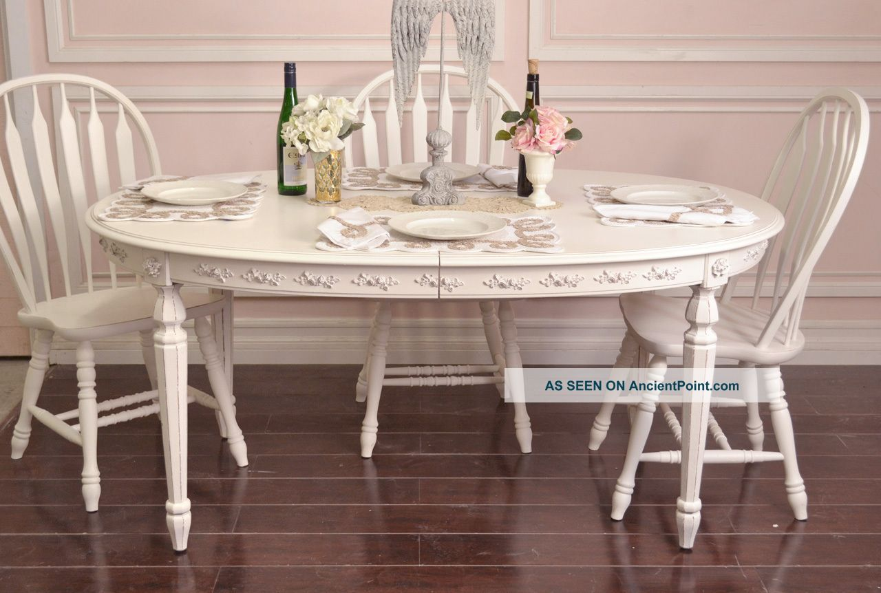 French Style Dining Room Furniture Shabby Cottage Chic Oval Dining Table French Vintage Style White