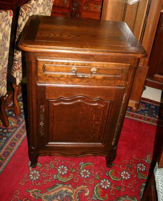 Lovely Louis Xv French Antique Cabinet.  Made From Dark Oak. photo