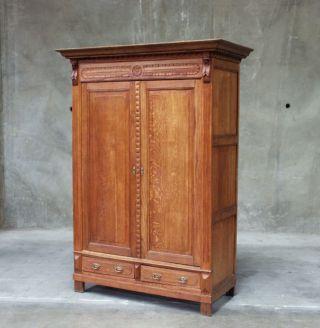 768 : Large French Oak Renaissance 2 Door Armoire photo