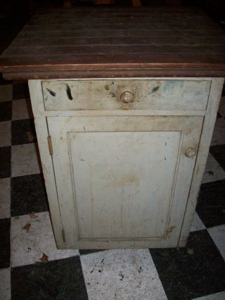 Primitive Wooden Kitchen Cupboard,  Antique 1 Drawer,  1 Door,  Vintage Collectible photo