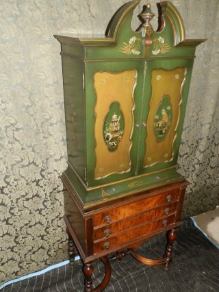 One Of A Kind Antique Asian Influenced Victorian Cabinet