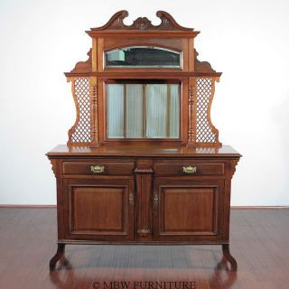 Antique English Art Nouveau Solid Walnut Buffet Sideboard Server C1899 Y05 photo