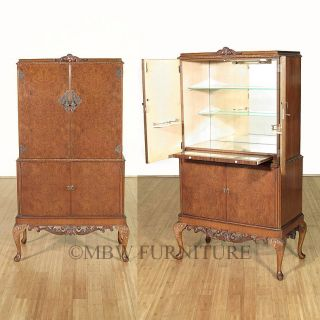 Antique English Burl Walnut Queen Anne Wine Bar Cocktail Cabinet C1940's P05 photo