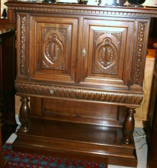 Exquisite French Antique Henry Ii Cabinet / Bar.  Made From Mahogany. photo