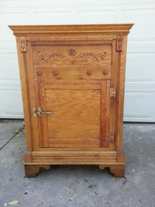 Antique Oak Ice Box,  All,  Rare Ornate Large,  Heavy Look photo