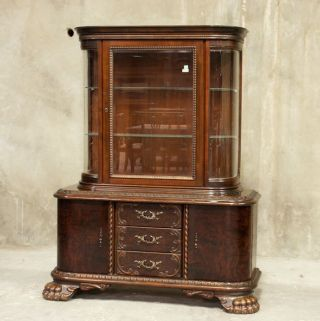 352 : German Walnut Claw Foot Display Cabinet photo