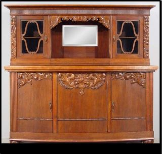 Antique Old World Bar Credenza Sideboard China Cabinet Furniture photo