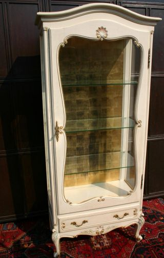 An Old Carved Wood Painted Display Showcase Cabinet photo
