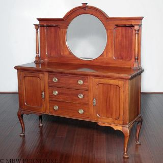 Antique English Mahogany Queen Anne Mirrorback Sideboard Server Buffet C1920 A64 photo