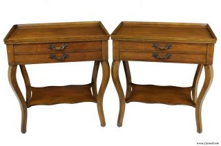Pair Of Cherry Wood French Country End Tables By Baker photo