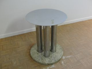 Mid Century Pace Chrome Marble Dining Table Base photo
