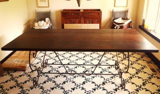 Antique French Country Iron Dining Room Redwood Table Metal photo