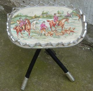 \vintage Retro 1970 ' S Tripod Leg Table With Hunting Scene Top From France photo