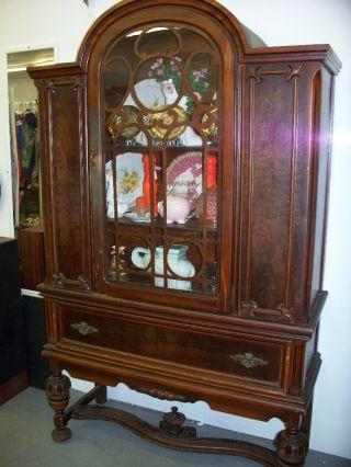 Solid Walnut Rare Antique Bonnet Top China Cabinet photo