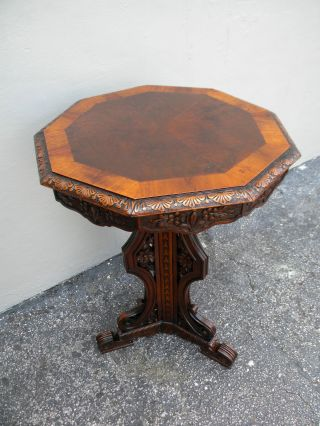 Victorian Heavy Carved Inlaid Octagonal Table 2220 photo