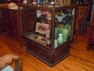 Antique Oak/glass Display Showcase W/ Drawers/storage/mirror Rare Small Size Htf photo