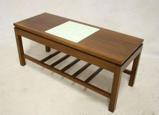 Retro Teak Coffee Table Modernist 60s 70s Vintage Tile Top photo