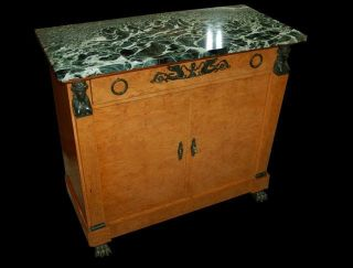 French Empire Marble Top Bronze Caryatid Mounted Burled Walnut Chest Cabinet photo
