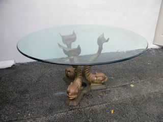 Vintage Bronze/brass Round Glass - Top Nautical Dining Table 2746 photo