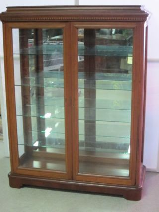 Antique Mahogany Curio Circa 1910 4 Glass Shelves Mirror Back Refinished 43