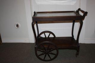 Tea Cart,  Mahogany With Removable Glass Tray - Antique photo