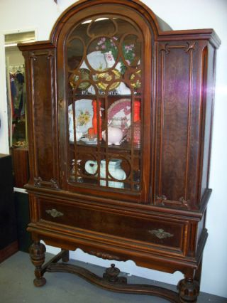 American Antique Bonnet Top China Cabinet Glass Front - Fine Solid Walnut Wood photo
