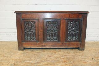French Gothic Trunk Solid Oak Hand Carved 19th Century photo