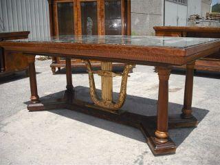 Marble Top Italian Gilt Wood Vintage Dining Room Table 11it082d photo