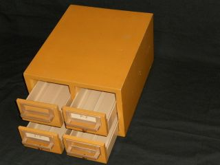 Vtg Deco Gaylord Wooden 4 Drawer Index Card Library Desk Top File Cabinet Eames photo