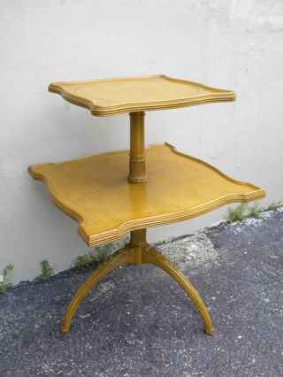 Duncan Phyfe Leather Top Two Tiers Pedestal Side Table photo
