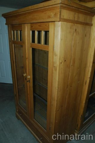 Antique Colonial Knotty Pine 2 Glass Door 1 Drawer Display Cabinet Wardrobe 1900 photo