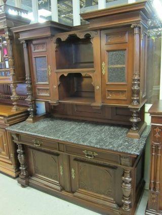 Antique Solid Walnut Handmade Cabinet Wide Deep Beveled Marble Top Use Anywhere photo