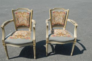 French Needlepoint Arm Chairs Matching Pair photo