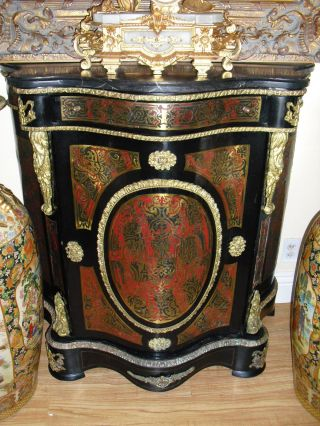 Antique French Marble Top Boulle Console Cabinet Commode,  Guilded Ormolu photo