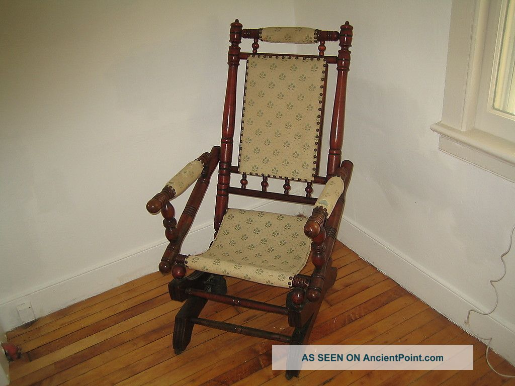 Antique Vintage Pedestal Platform Rocking Chair Spindle Rocker
