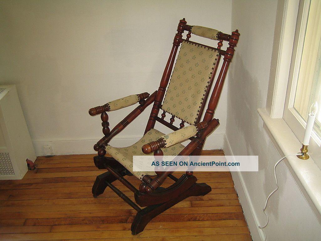 Antique Vintage Pedestal Platform Rocking Chair Spindle Rocker