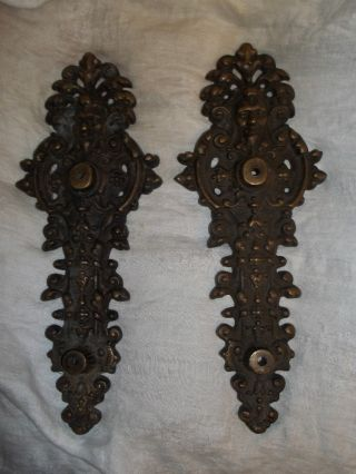 Two Architechural Victorian Figural Bronze Abraham Lincoln Head Door Back Plates photo