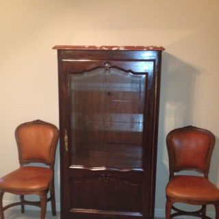 Antique French Provincial China Cabinet With Glass And Marble Top photo