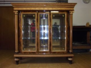 Italian Antique Etched Glass Vitrine 10it109e photo