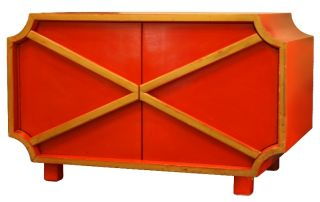 Pair Of Red Lacquered Art Deco Cabinets photo
