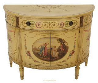 Antique Hand - Painted Adams Style Demi Lune Commode photo