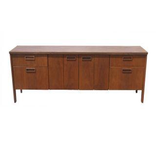 6ft Vintage Kimball Walnut Credenza Cabinet photo