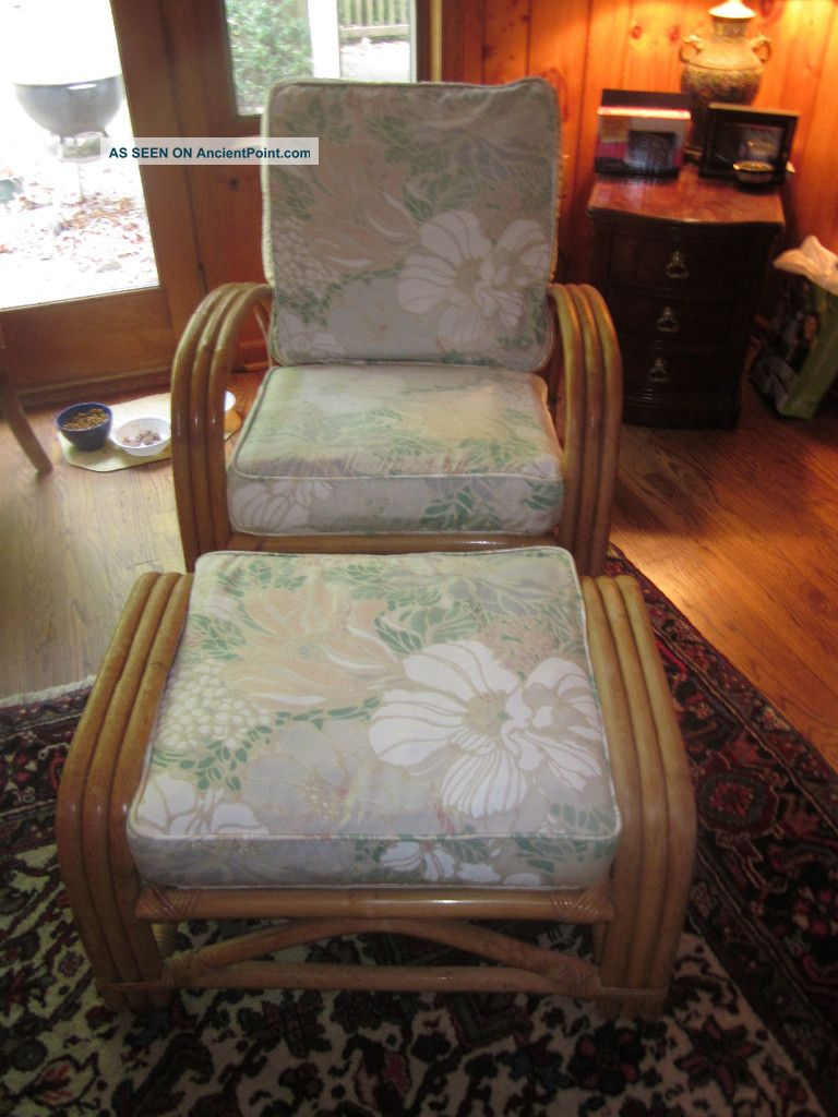 Bamboo Club Chair & Ottoman - Mid - Century Find Post-1950 photo